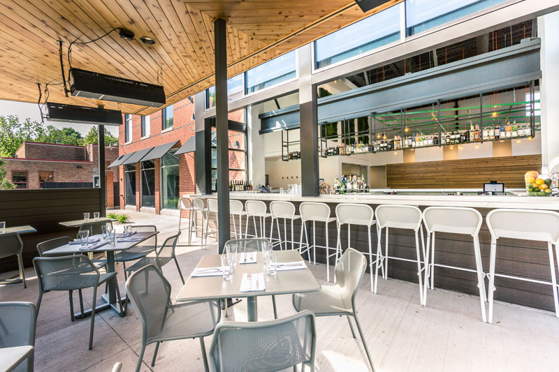 Outdoor patio of Everly restaurant