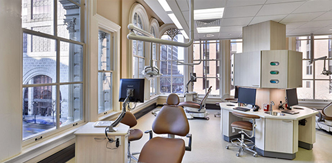 Exam room inside Dental Associates Iron Block